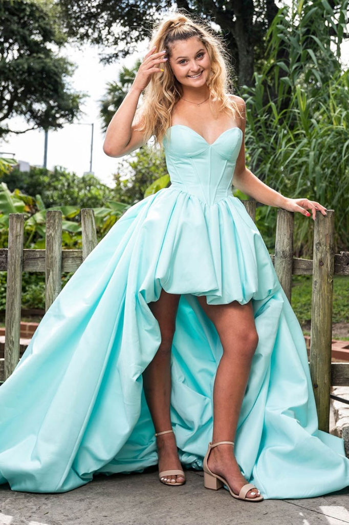 Simple sweetheart satin high low prom dress evening dress