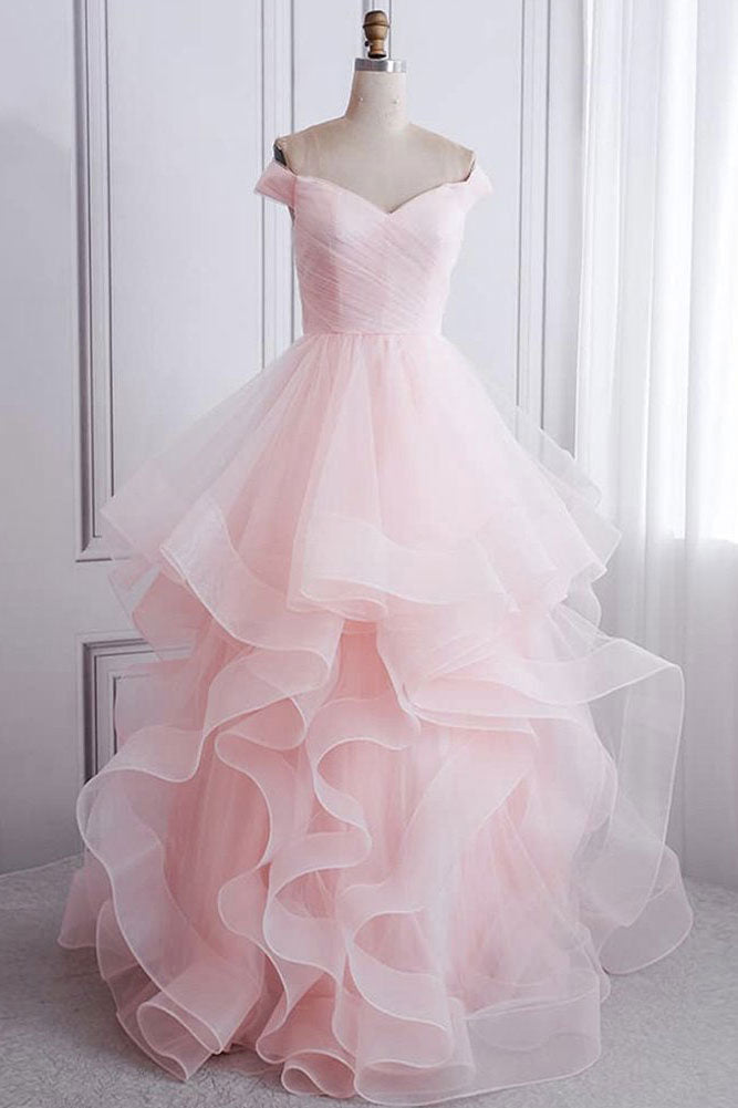 Pink sweetheart tulle formal dress pink evening dress