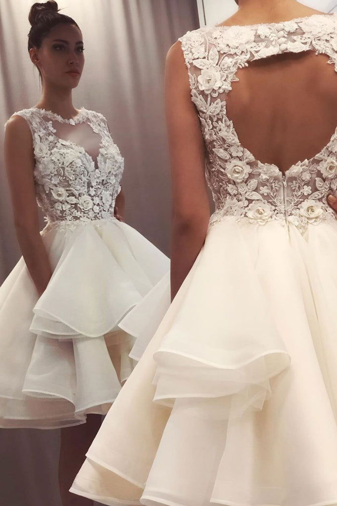 White round neck lace short prom dress lace homecoming dress