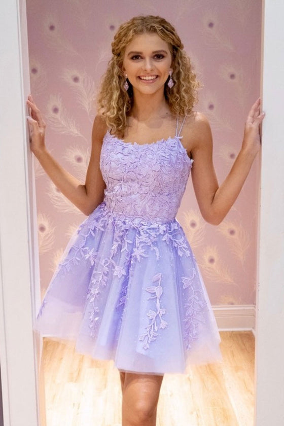 Purple tulle lace short prom dress purple tulle cocktail dress