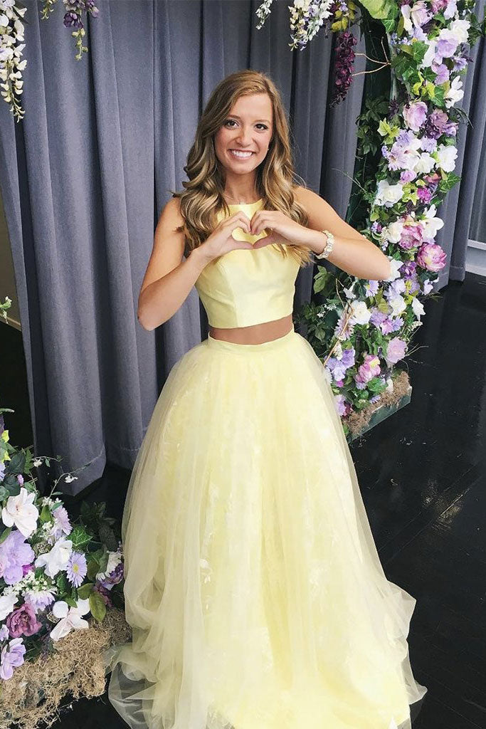 Yellow tulle two pieces long prom dress yellow formal dress