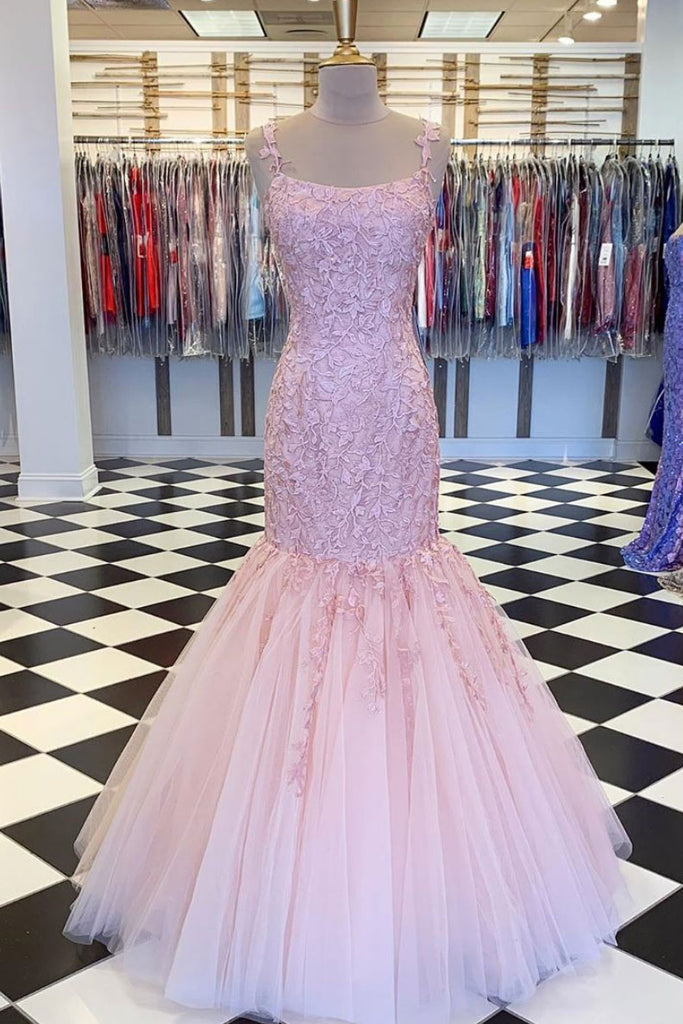 Pink tulle lace mermaid long prom dress pink formal dress
