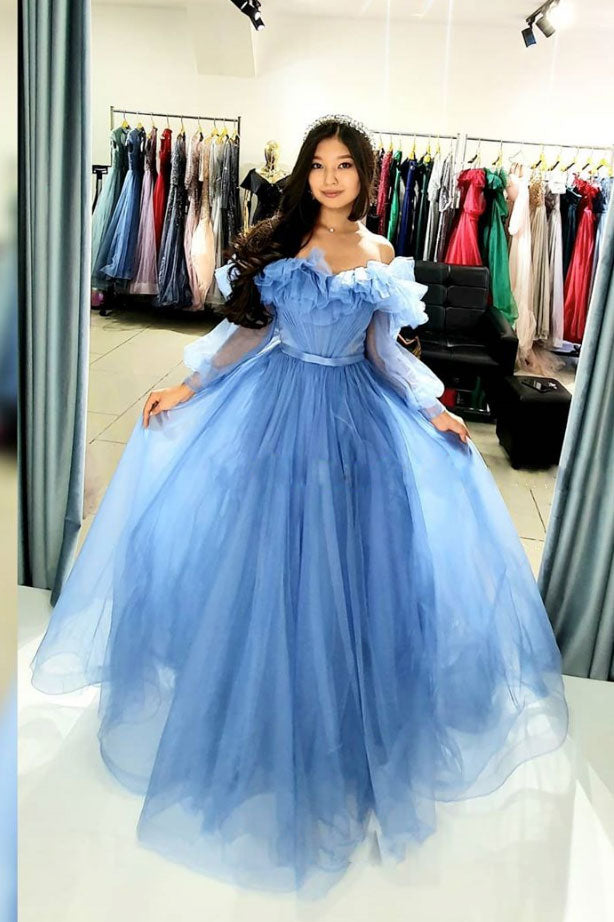 Blue sweetheart tulle long prom dress blue formal dress