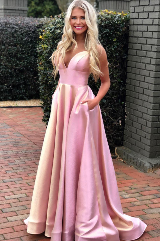Simple pink v neck satin long prom dress pink formal dress