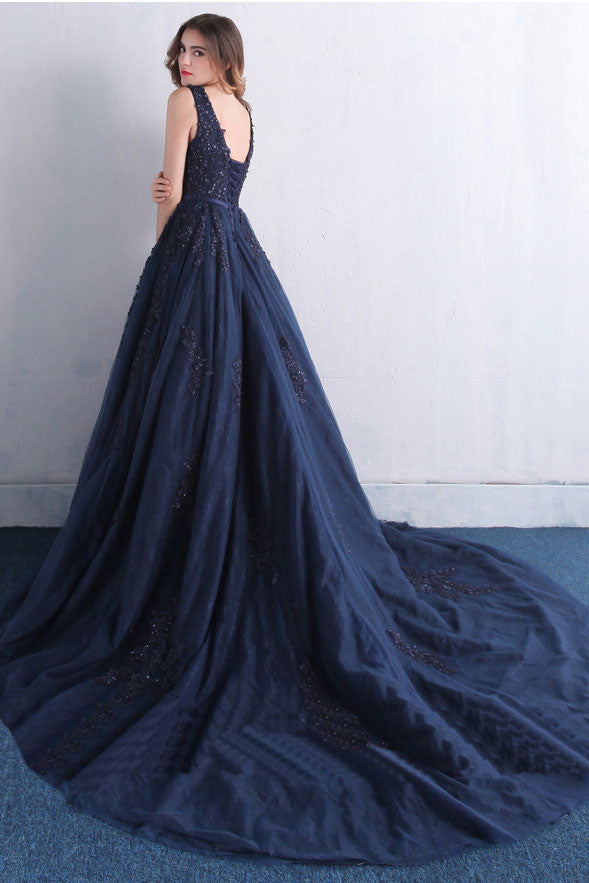 a686536364 Dark blue v neck tulle lace long prom dress