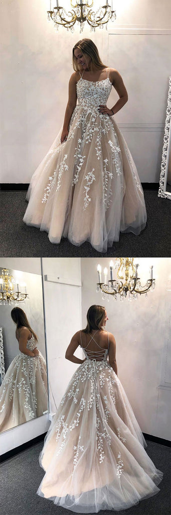 Champagne tulle lace long prom dress lace long evening dress