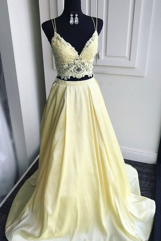 Yellow lace two pieces long prom dress lace formal dress