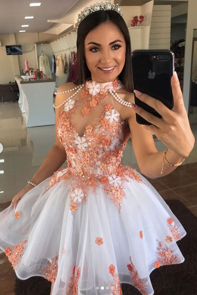 Cute tulle lace short prom dress lace cocktail dress
