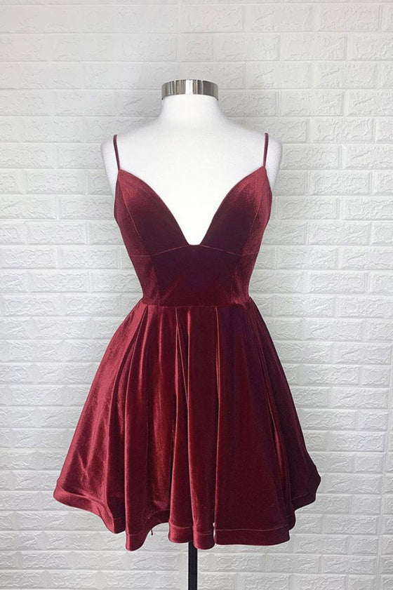 Simple burgundy v neck short prom dress burgundy homecoming dress