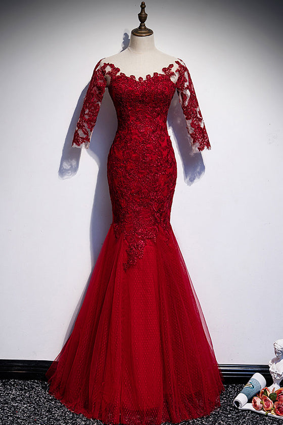 Burgundy round neck tulle lace long prom dress burgundy evening dress