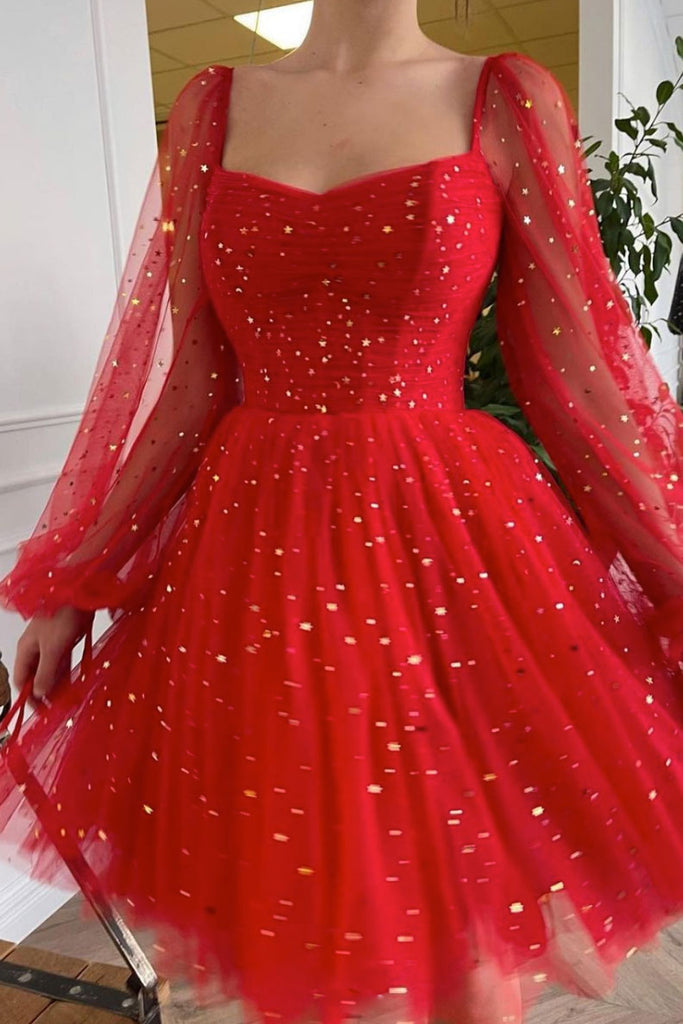 Red tulle short prom dress red tulle cocktail dress