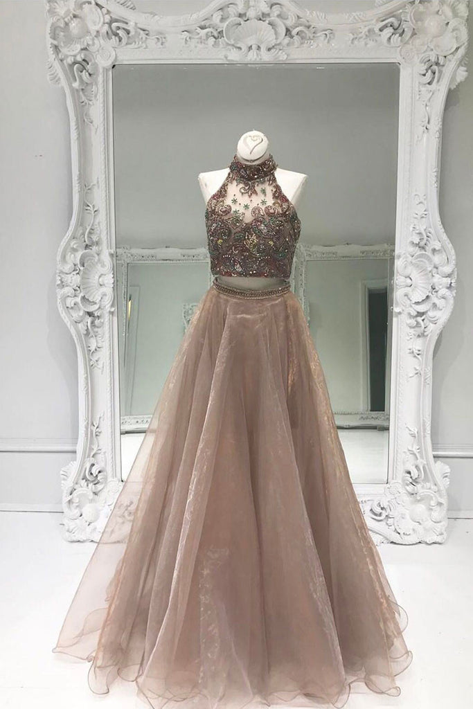Unique two pieces sequin beads long prom dress, evening dress