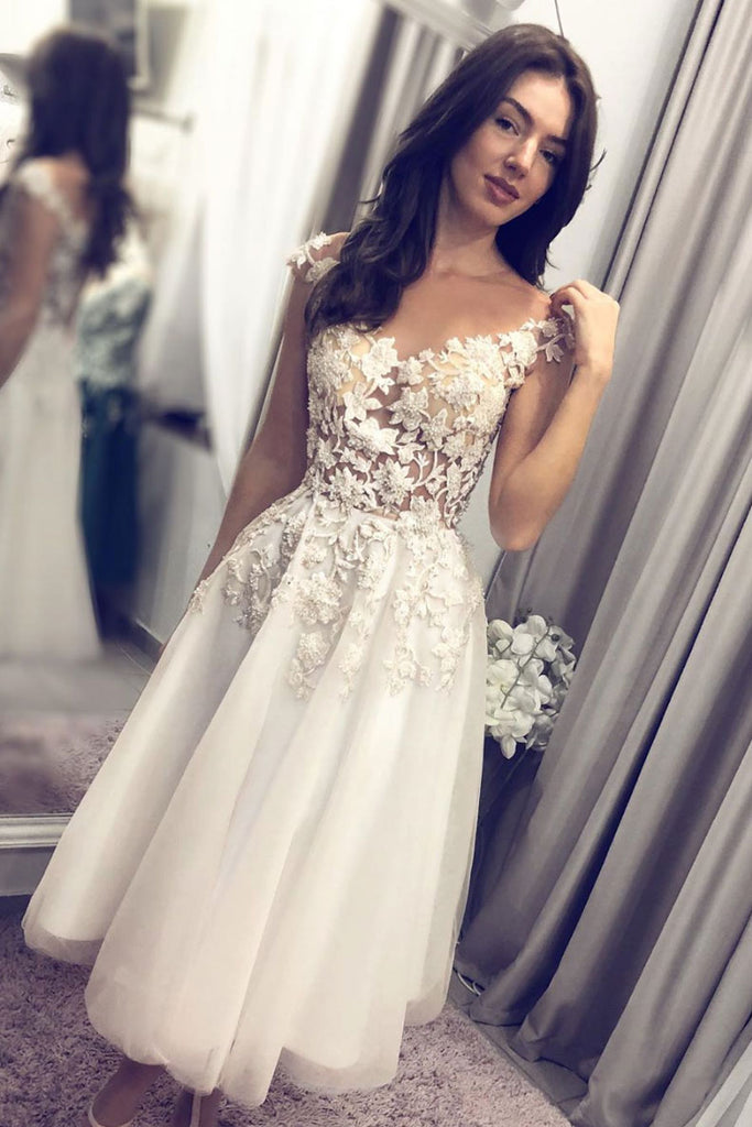 White tulle lace short prom dress lace bridesmaid dress