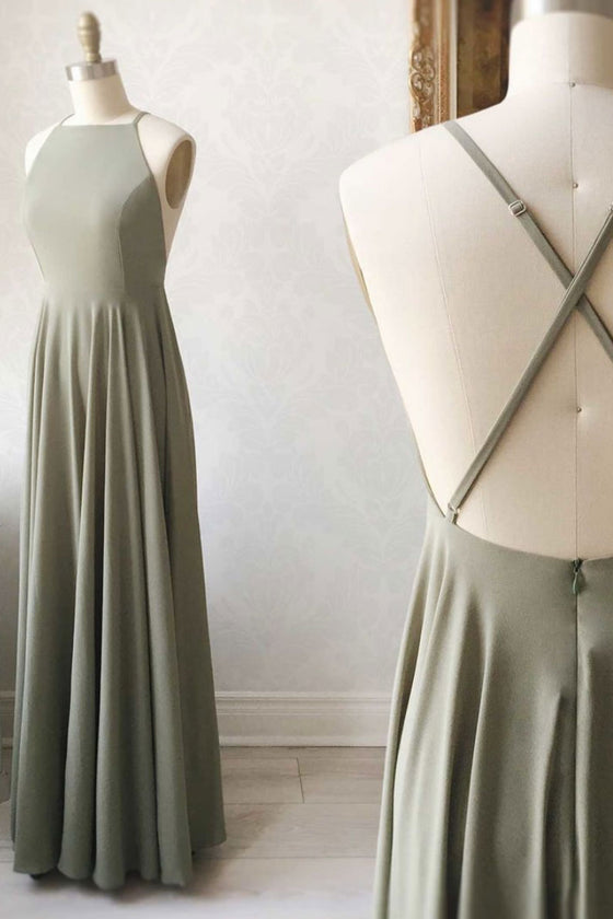 Simple chiffon backless long prom dress chiffon evening dress