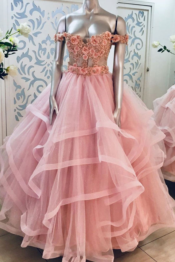 Pink sweetheart off shoulder lace long prom dress pink evening dress