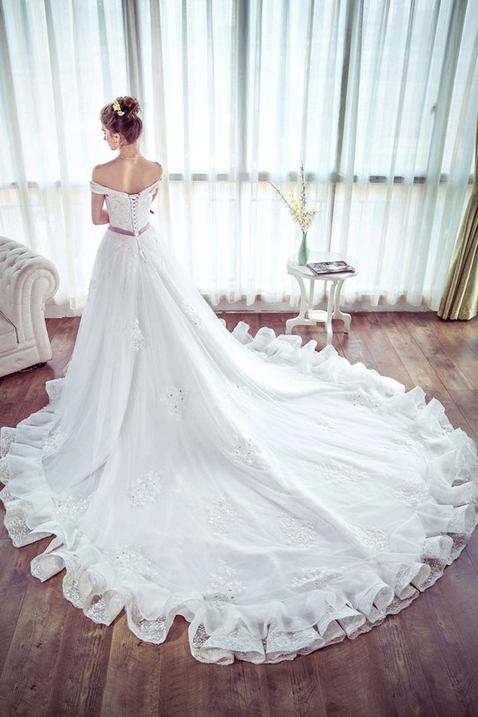 Unique white lace long wedding dress, bridal dress