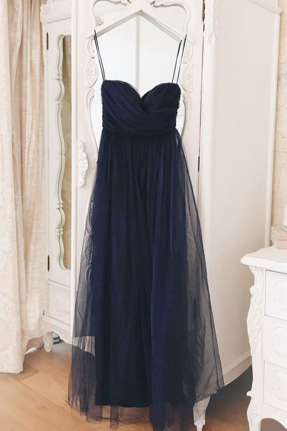 Simple sweetheart blue tulle long prom dress blue formal dress
