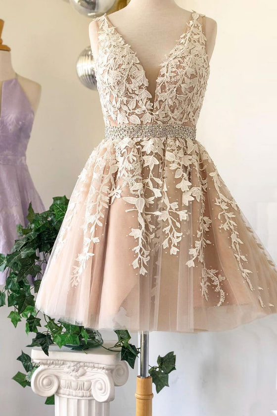 Champagne v neck tulle lace short prom dress, champagne homecoming dress