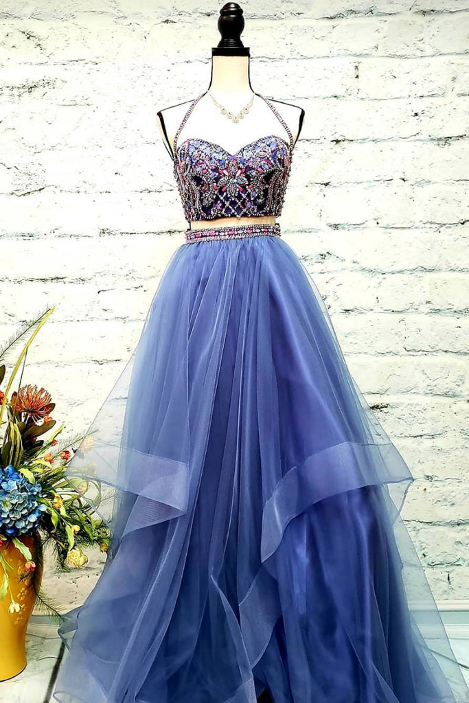 Blue sweetheart two pieces tulle long prom dress, blue evening dress
