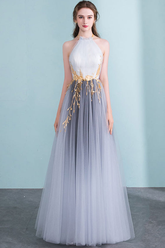 Gray high neck tulle long prom dress gray tulle formal dress