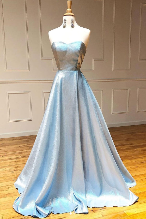 Simple sweetheart blue long prom dress blue long evening dress