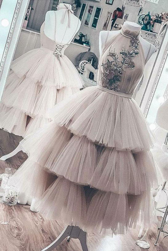 Unique high neck tulle short prom dress, tulle evening dress