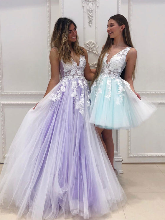 Purple v neck tulle lace long prom dress tulle lace formal dress