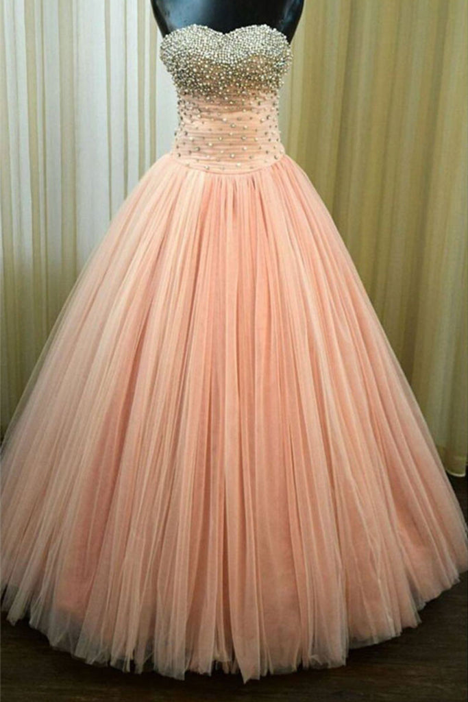 Pink sweetheart tulle long prom dress, pink evening dress