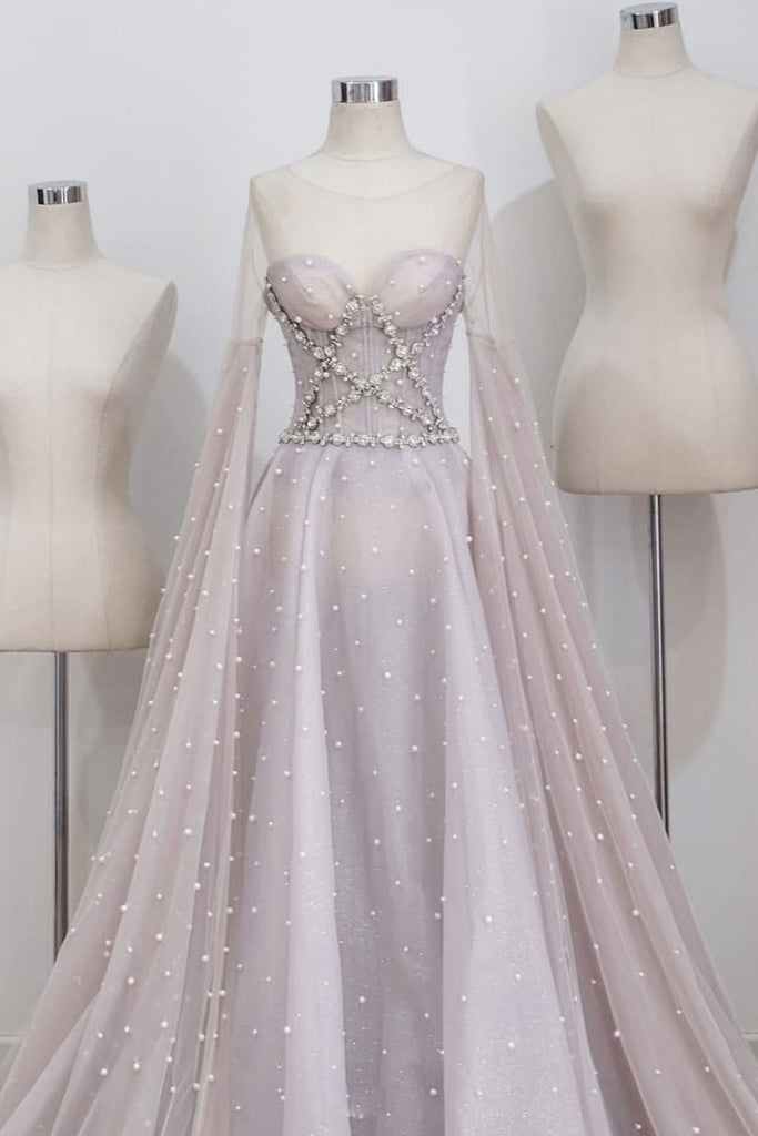 Unique round neck tulle long prom dress, gray evening dress