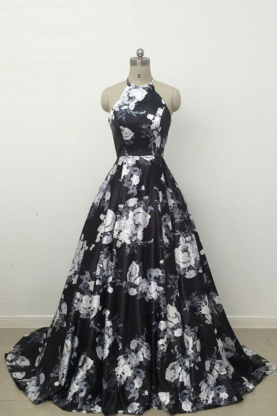 Black high neck satin long prom dress, black evening dress
