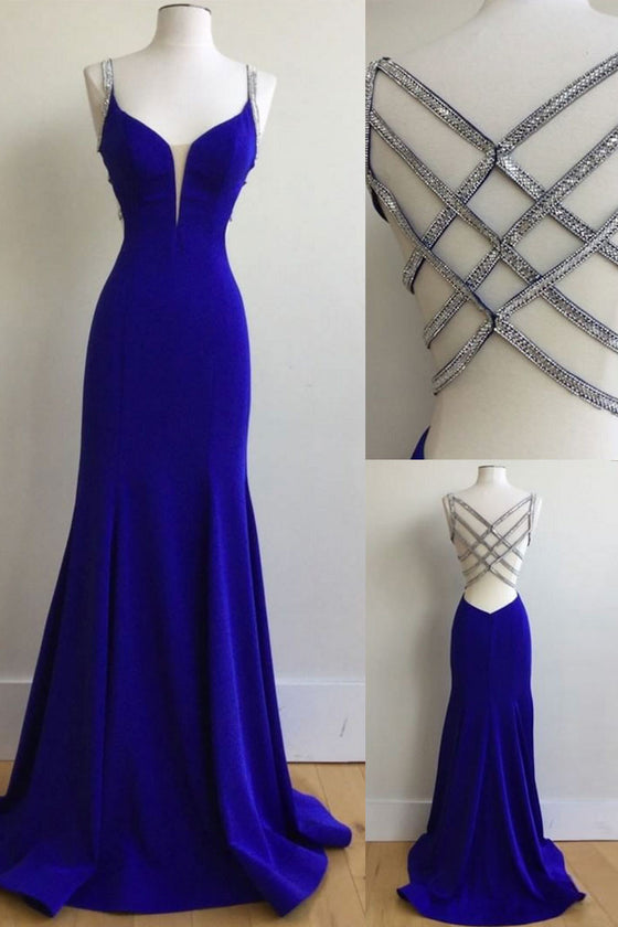 Unique royal blue sequin long prom dress, blue evening dress
