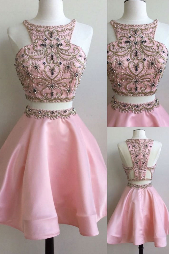 Cute pink two pieces beads short prom dress, pink homecoming dress