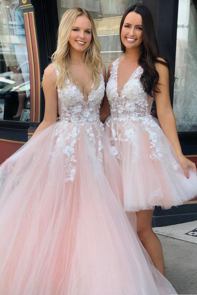 Pink v neck tulle lace long prom dress, tulle evening dress