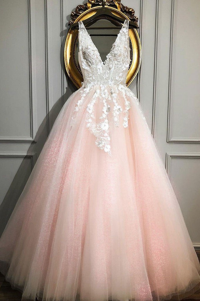 Pink v neck tulle lace long prom dress, pink tulle formal dress