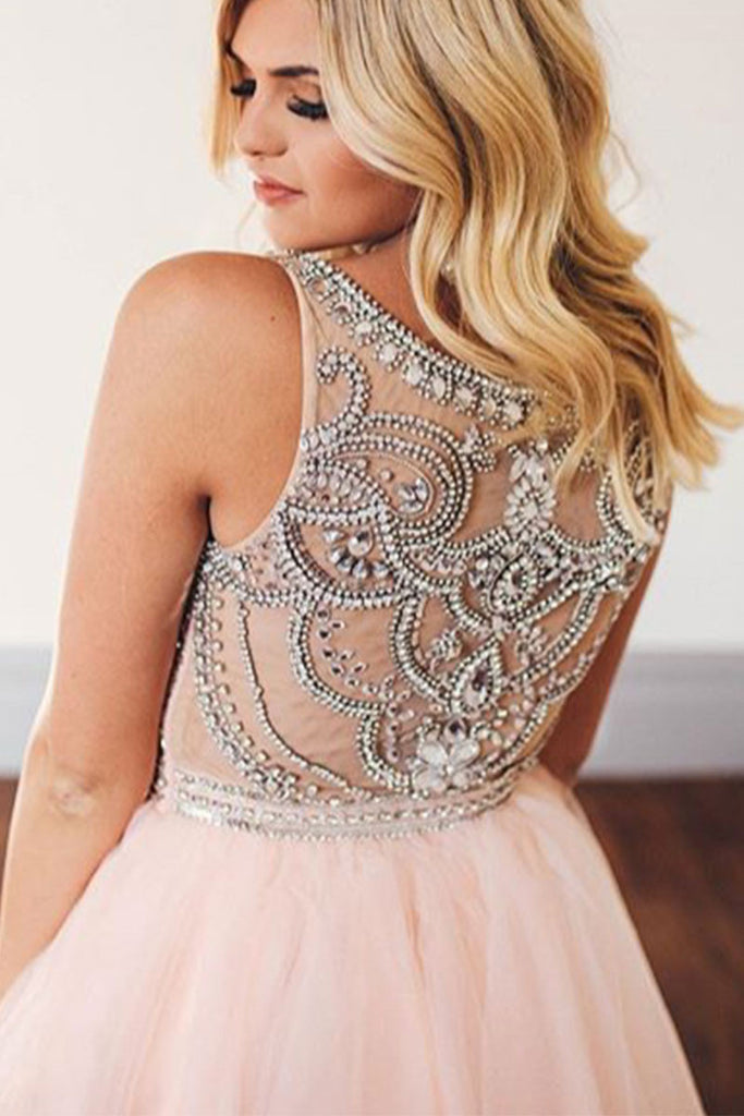 Pink round neck tulle short prom dress, cute pink homecoming dress