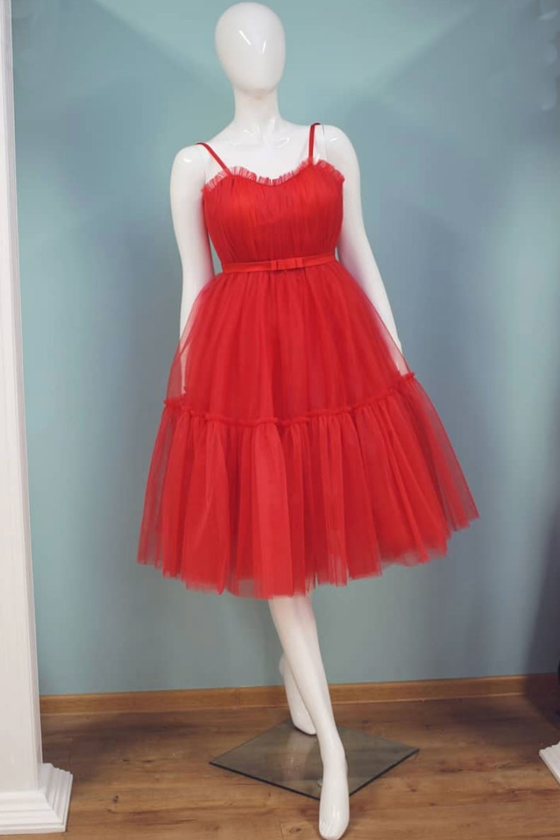 Cute red tulle short prom dress, red homecoming dress