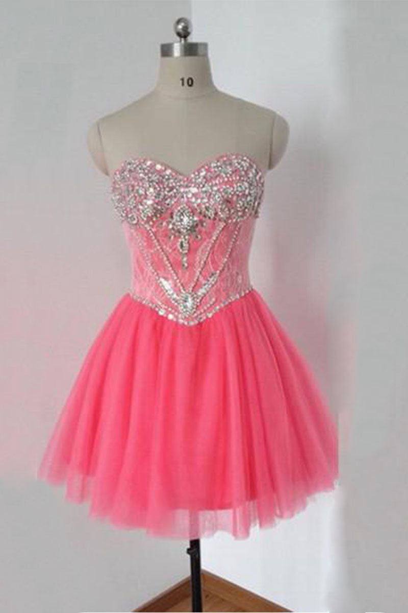 49f375b4e1 Pink tulle sweetheart sequin beads short prom dress