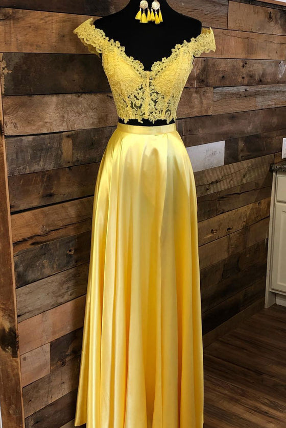 Yellow lace two pieces long prom dress yellow evening dress