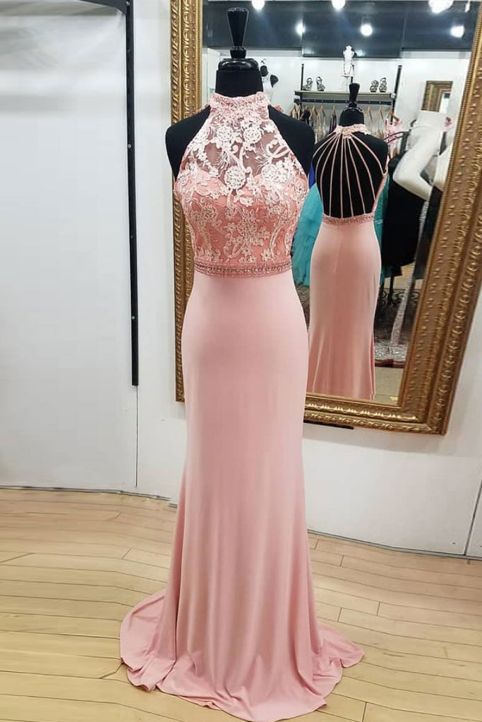 Pink mermaid lace long prom dress, pink mermaid evening dress