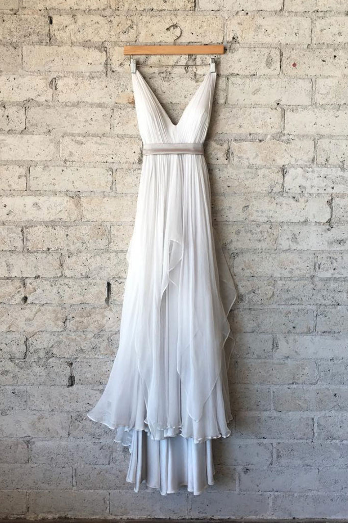 Simple v neck white chiffon long prom dress, white evening dress