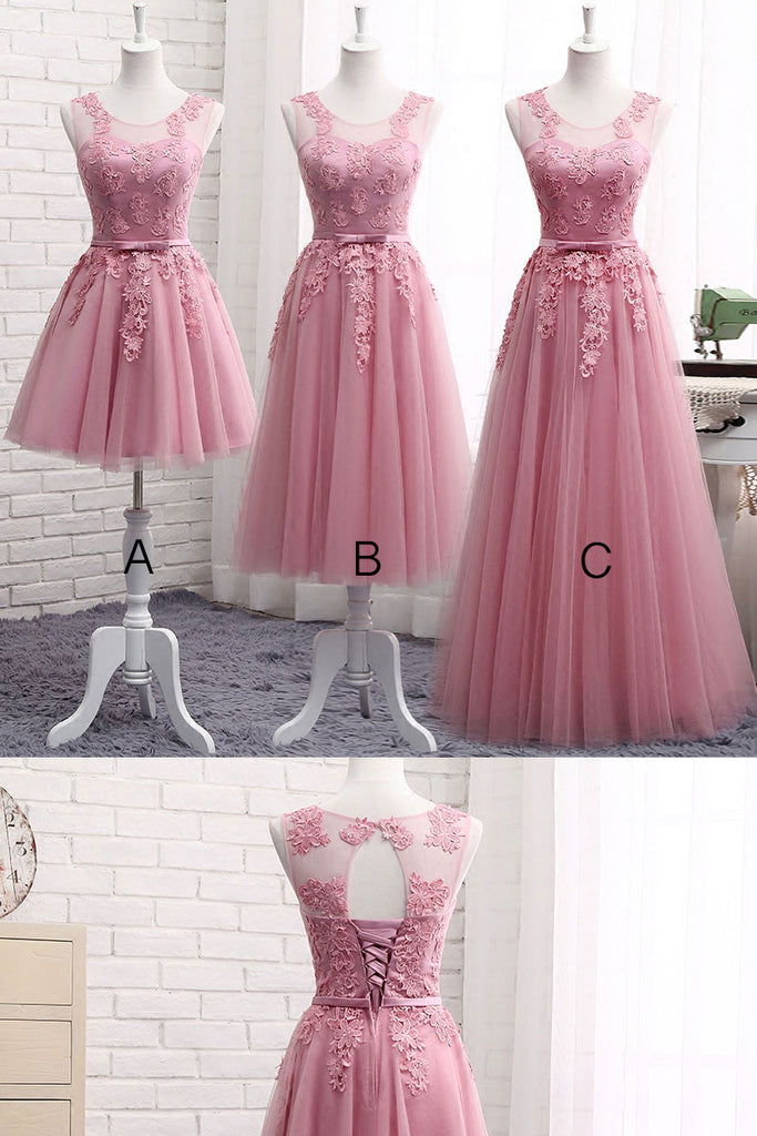 Pink round neck tulle lace long prom dress, pink bridesmaid dress