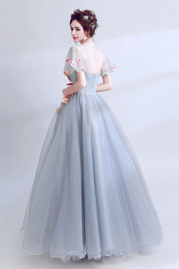 Unique gray lace applique long prom dress, gray evening dress