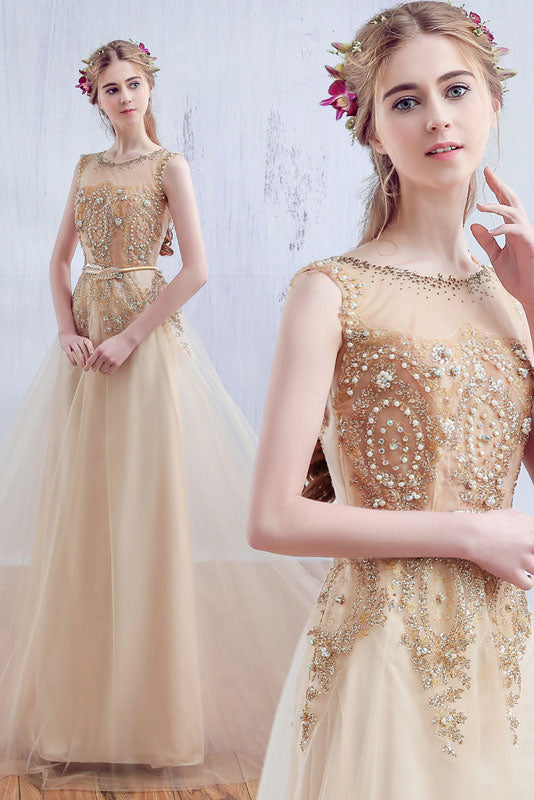 Champagne round neck tulle lace long prom dress, lace evening dress