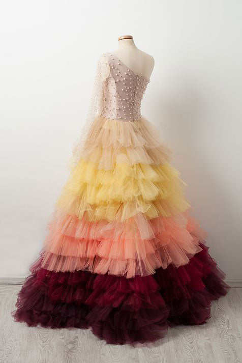 Unique one shoulder tulle beads long prom dress, evening dress