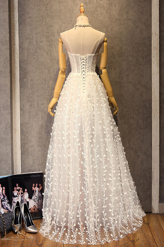 White v neck lace long prom dress, white lace evening dress