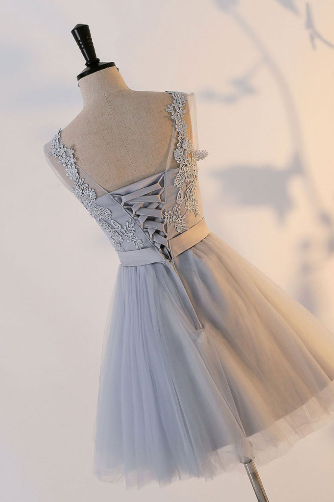 Cute gray round neck  tulle lace short prom dress, gray homecoming dress