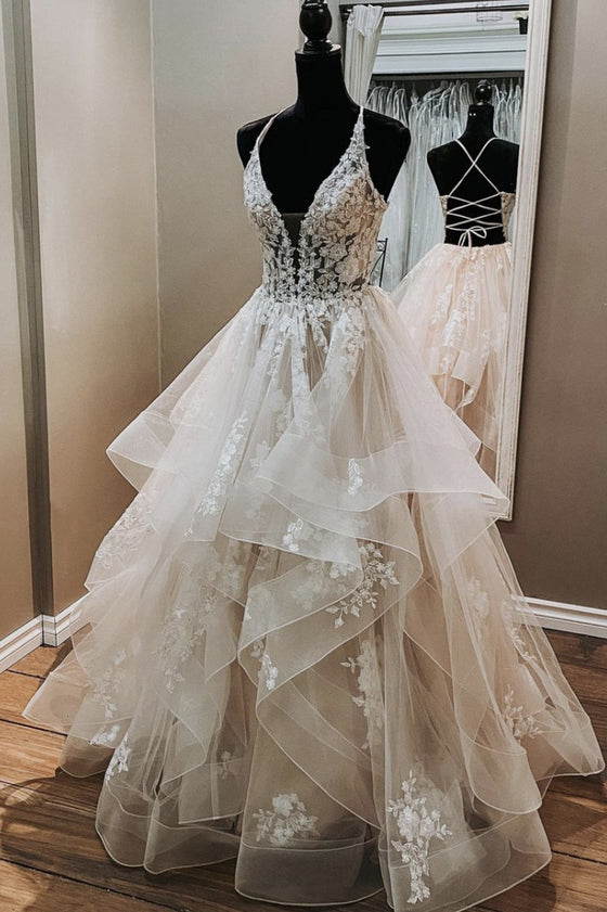 Unique v neck lace tulle long prom dress lace tulle evening dress