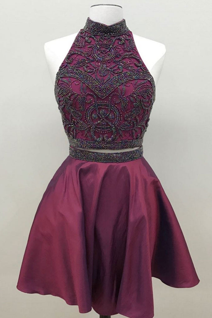 Unique burgundy two pieces beads short prom dress, burgundy homecoming dress