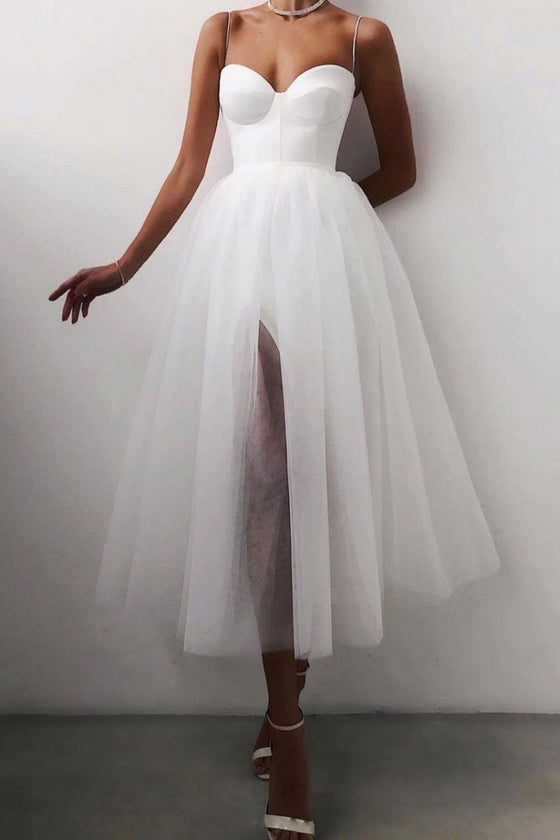 White tulle short prom dress white tulle evening dress