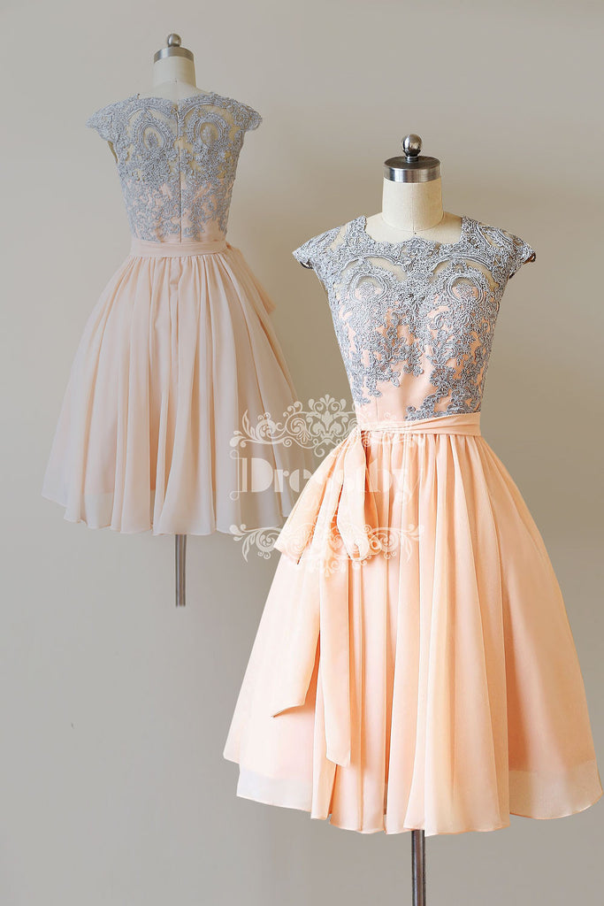 Cute lace short prom dress, lace bridesmaid dress